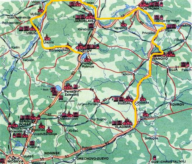 Map of golden ring bicycle tour